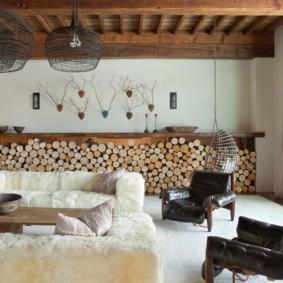 гостиная в стиле шале дизайн фото