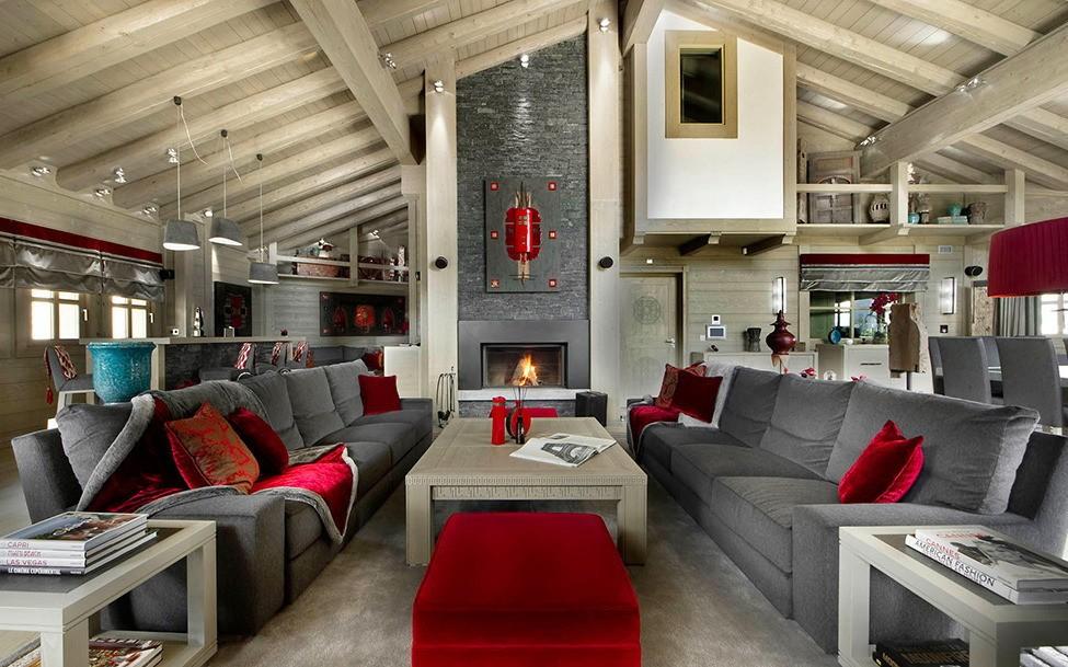 гостиная в стиле шале декор