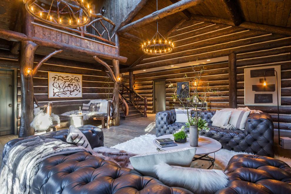 гостиная в стиле шале диваны
