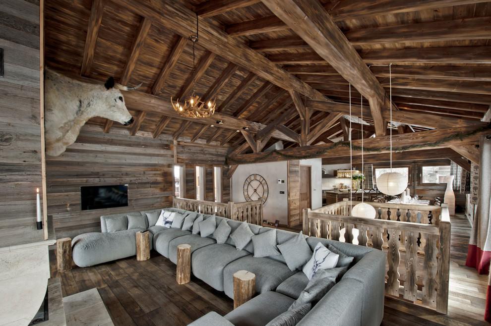 гостиная в стиле шале дизайн идеи