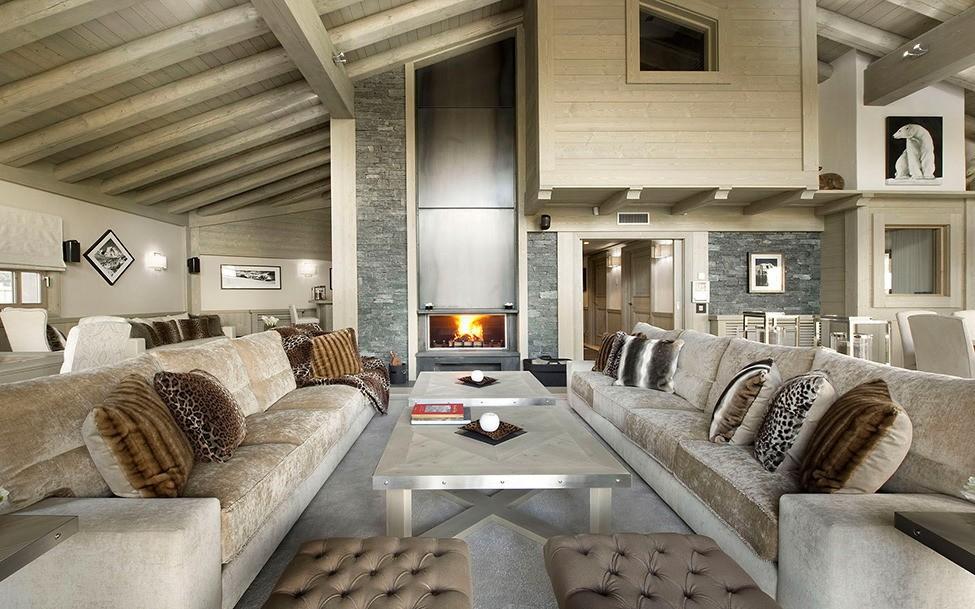 гостиная в стиле шале фото дизайн