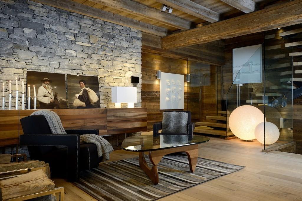 гостиная в стиле шале фото интерьер