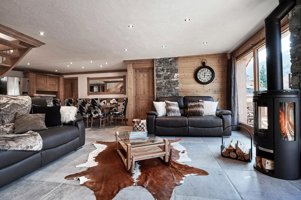 гостиная в стиле шале идеи декора