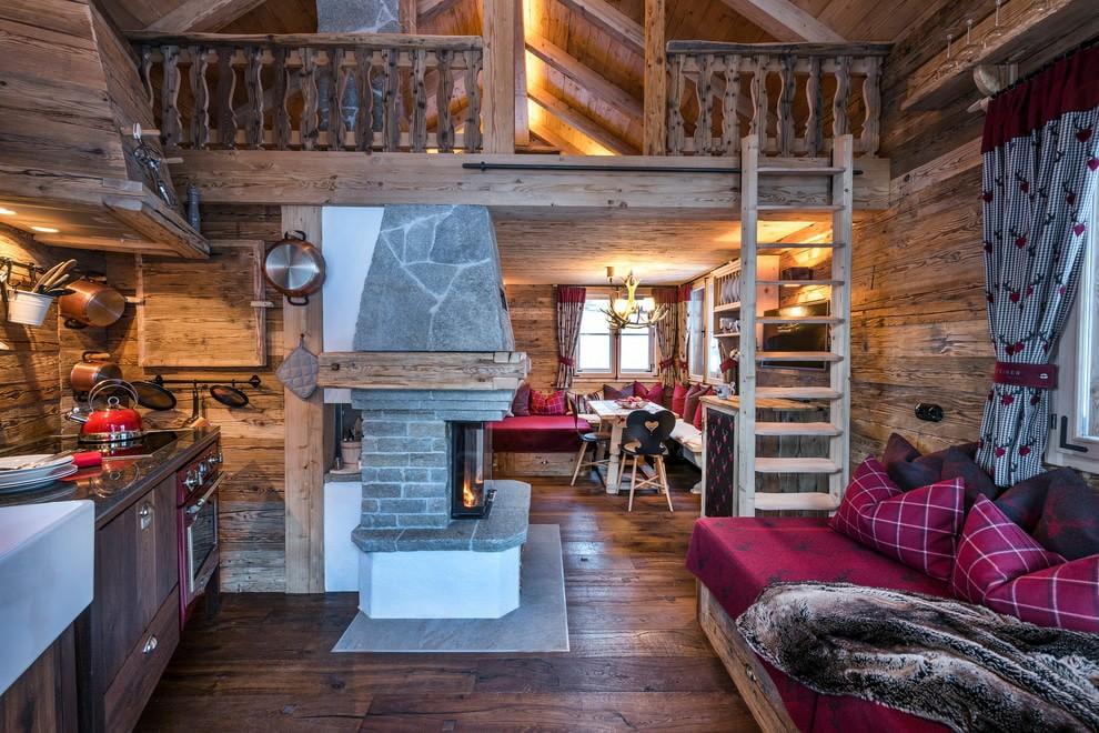 гостиная в стиле шале интерьер фото