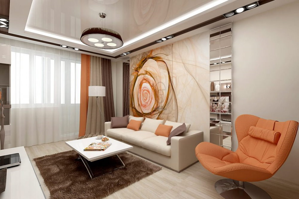 Яркое кресло в гостиной площадью 25 кв метров