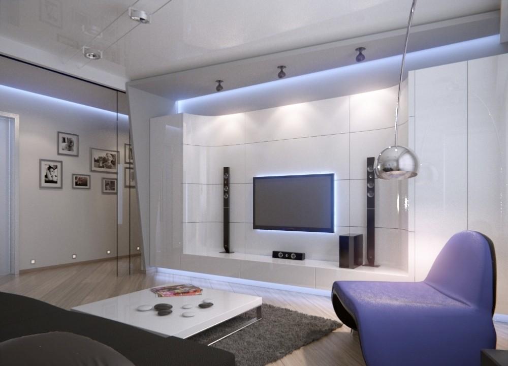 Светлая гостиная в стиле хай тек