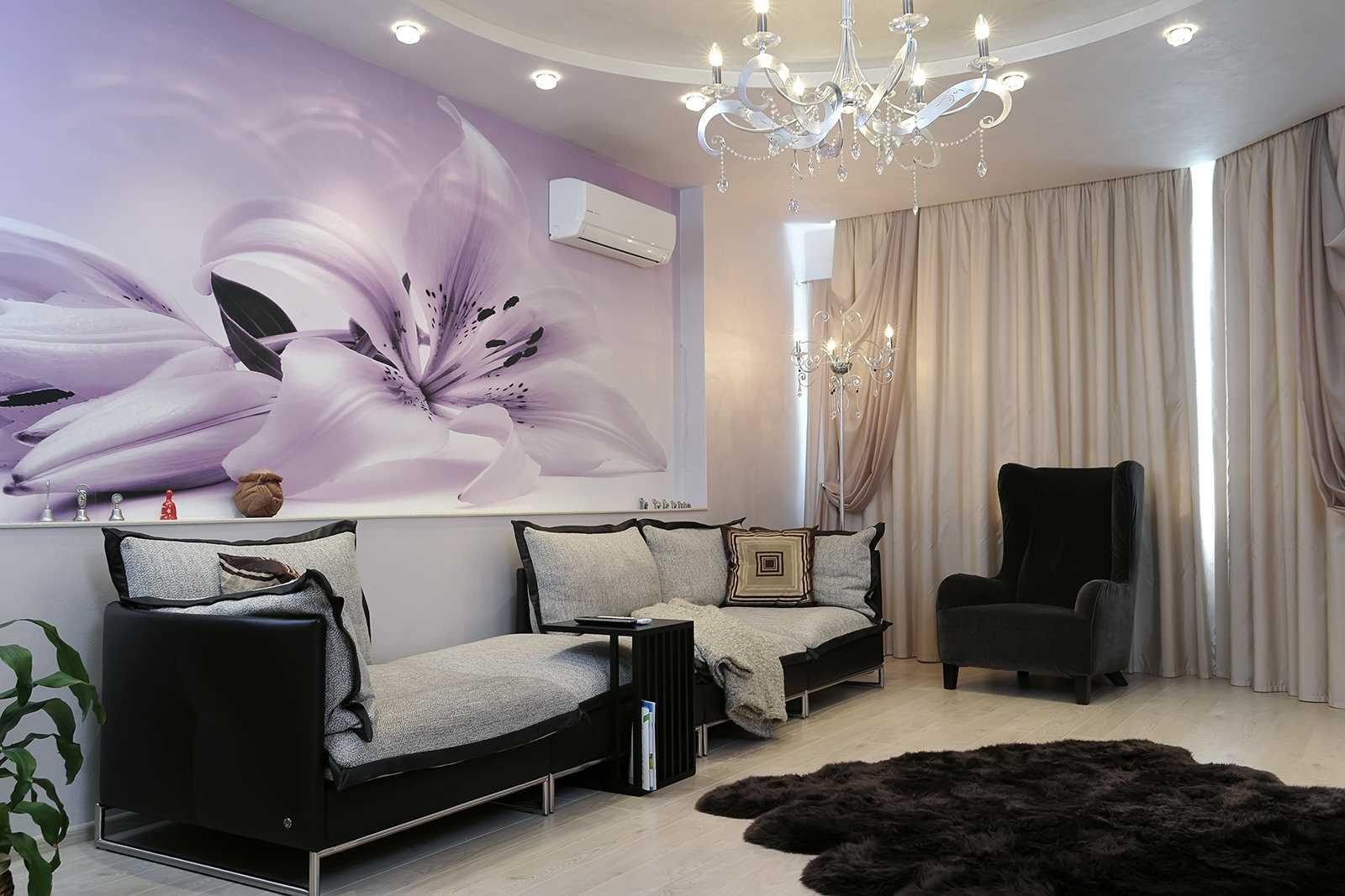 современная гостиная с ламинатом