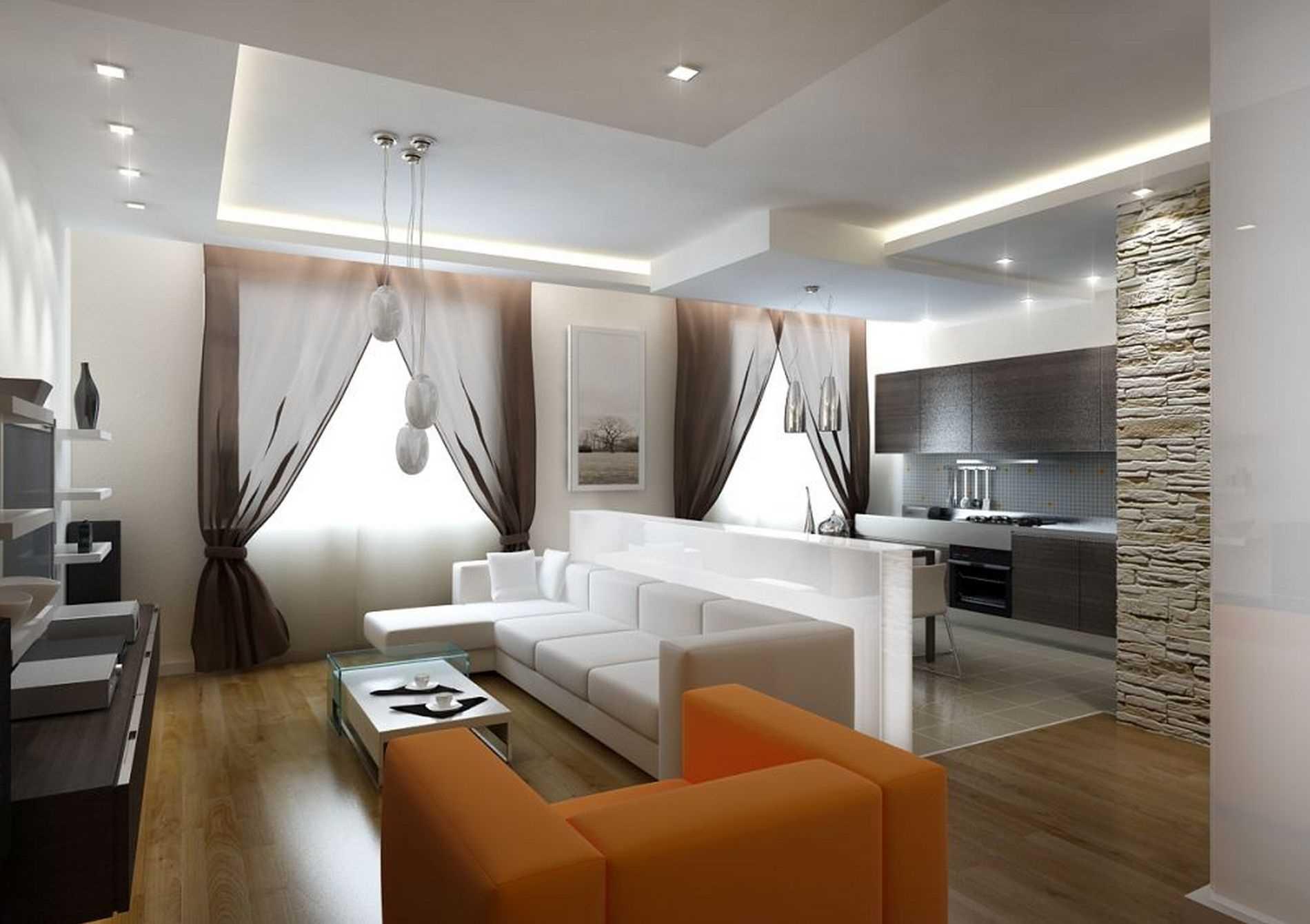идеи потолка в современной гостиной