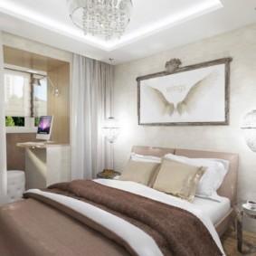 Дизайн спальни после присоединения лоджии