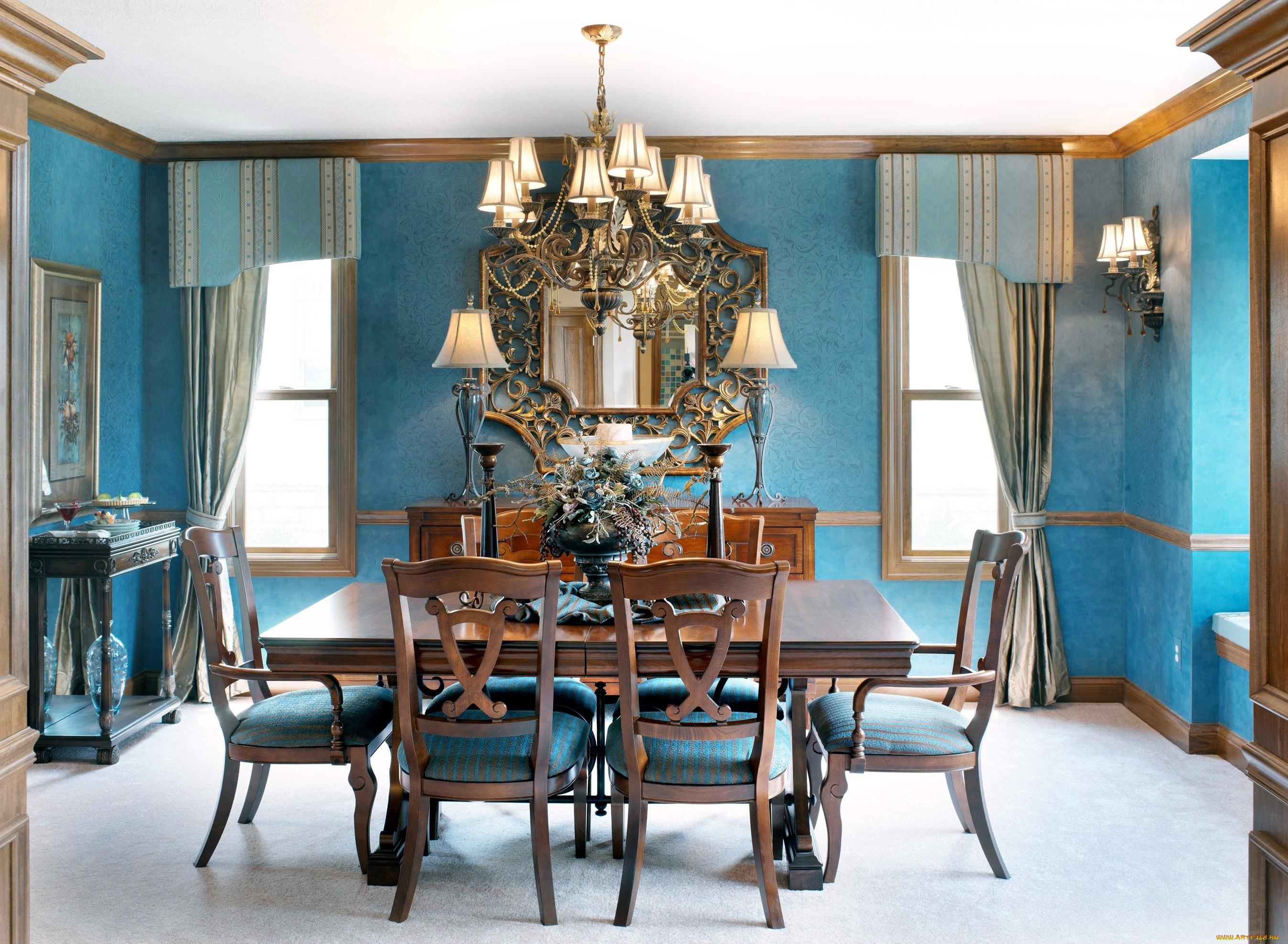 голубые шторы с ламбрекеном