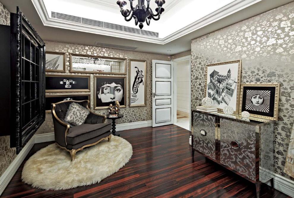 Картины в интерьере гостиной стиля арт деко