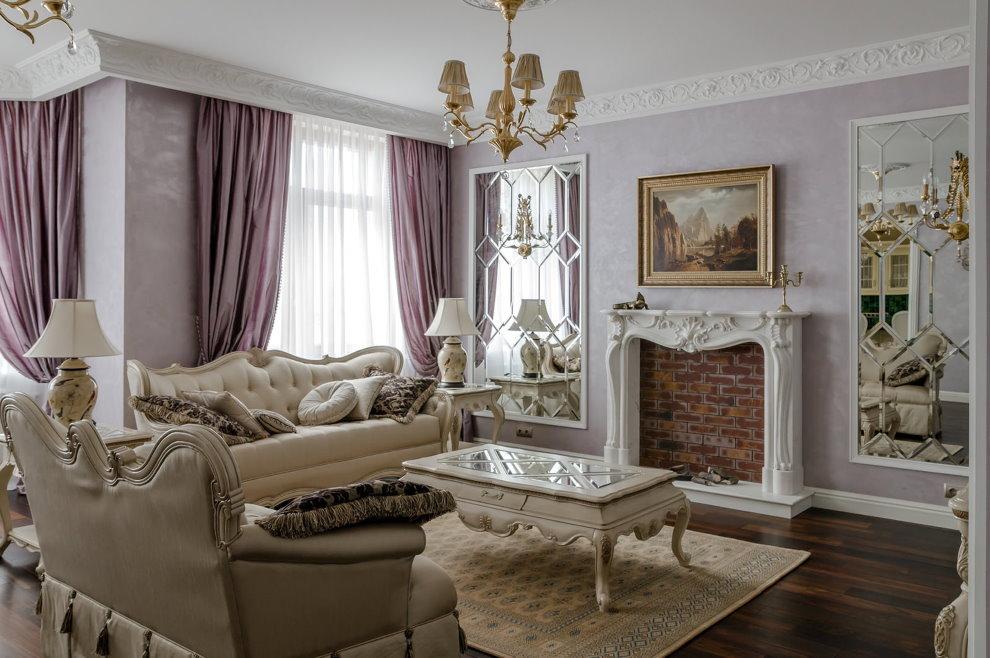 Фальш-камин в гостиной классического стиля
