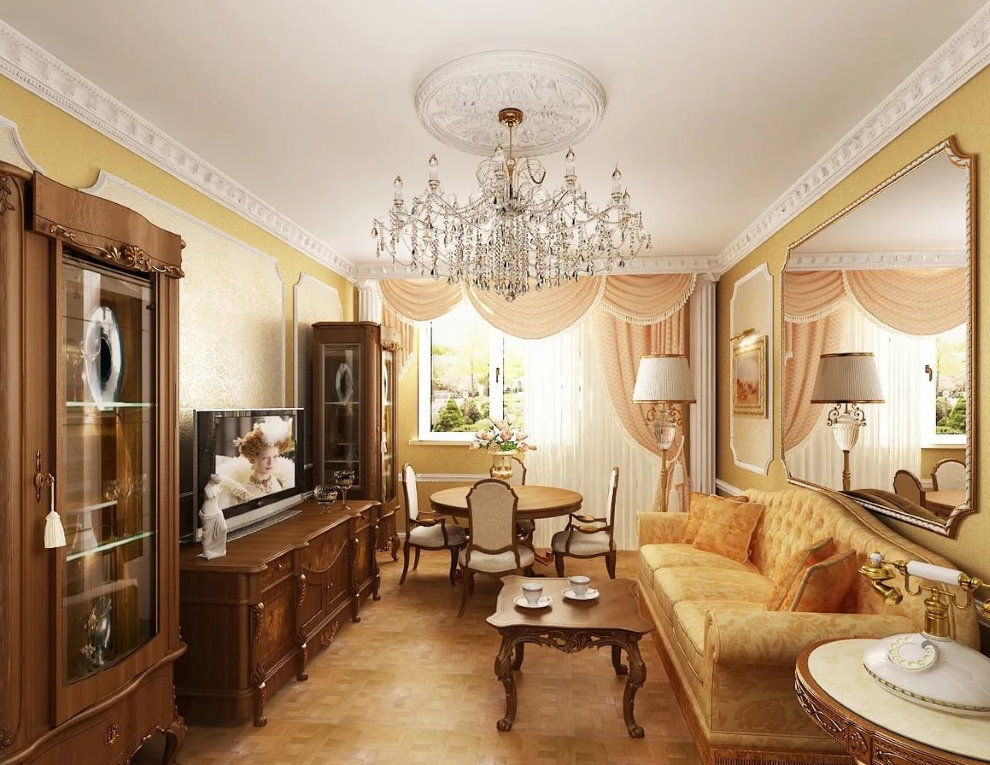 Дизайн зала 18 квадратов в стиле классики