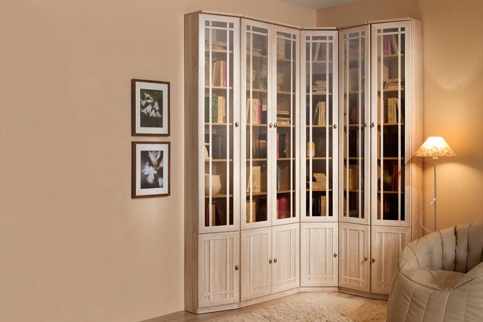 Угловой шкаф для размещения книг