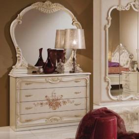 комод с зеркалом для спальни фото дизайна