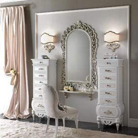 комод с зеркалом для спальни декор фото