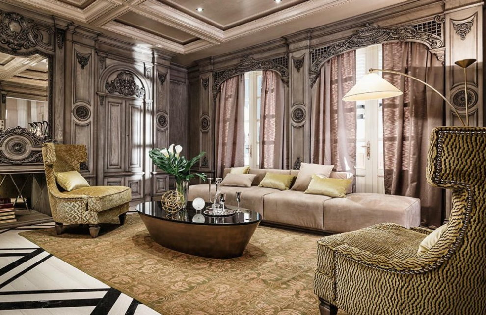 Ковер на полу гостиной в стиле арт-деко
