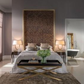 коричневый ковер в спальню