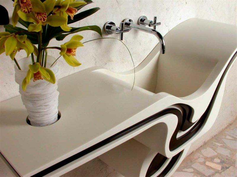 Дизайнерская столешница в ванной комнате