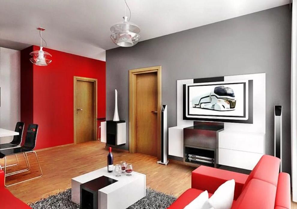 Фото красно-серой комнаты в квартире