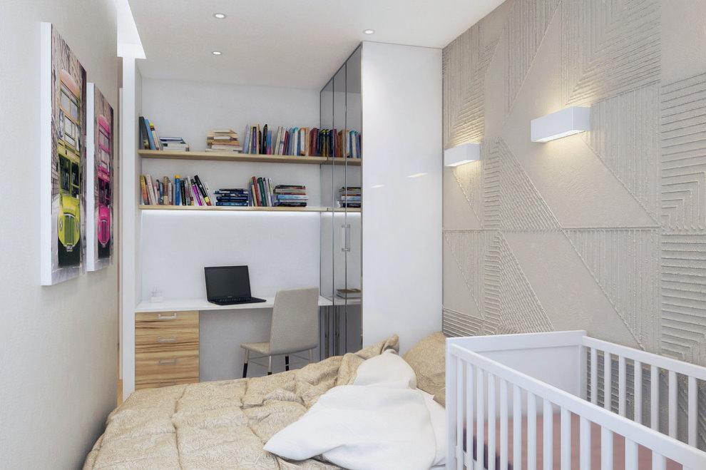Детская кроватка в однокомнатной квартире для семьи