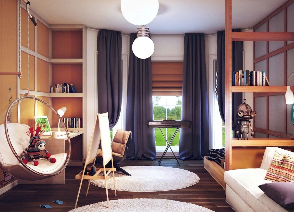 круглый ковер в комнате