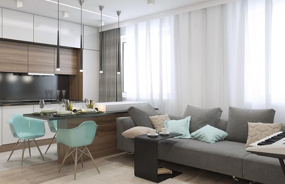 Обеденное место в однокомнатной квартире для холостяка