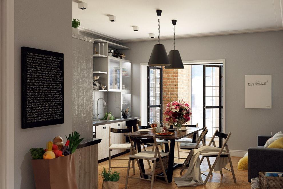 Обеденная зона на кухне 4-х комнатной квартиры