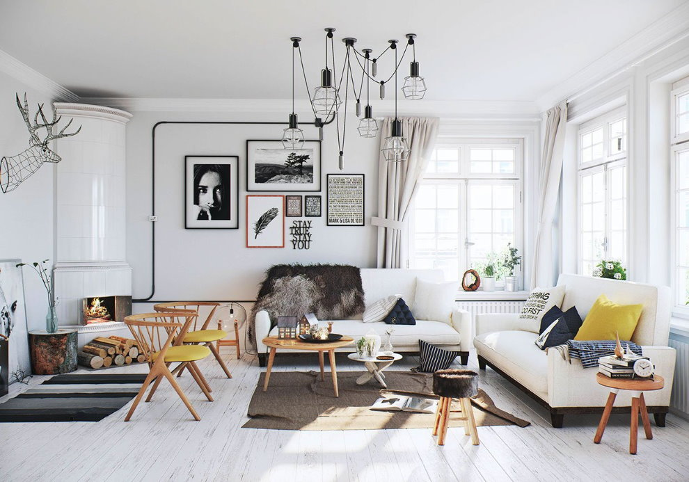 Планировка светлой гостиной в частном доме