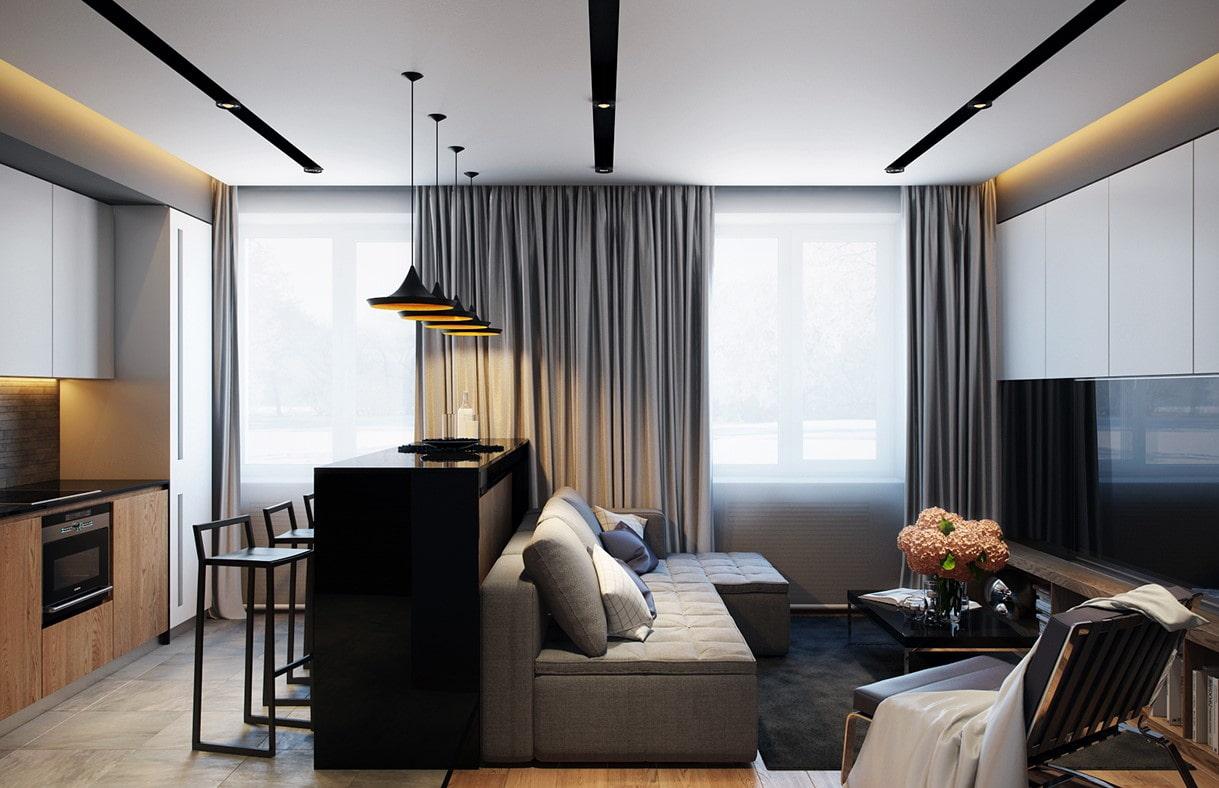квартира площадью 35 кв м кухня гостиная