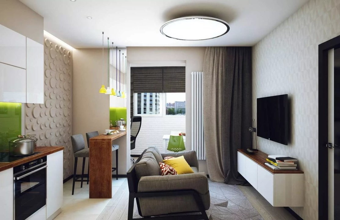 кухня гостиная в квартире студии 30 кв м