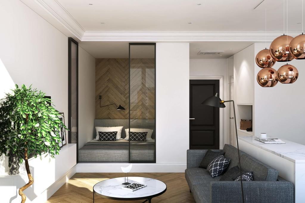 спальня в квартире студии 30 кв м
