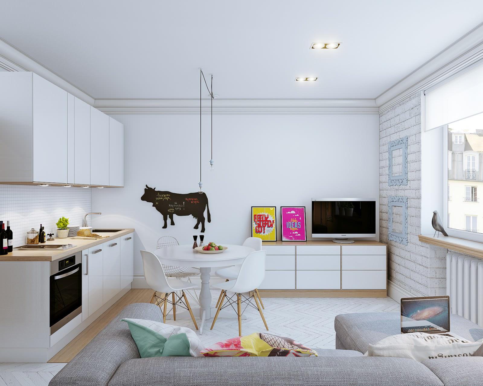 столовая зона в квартире студии 30 кв м