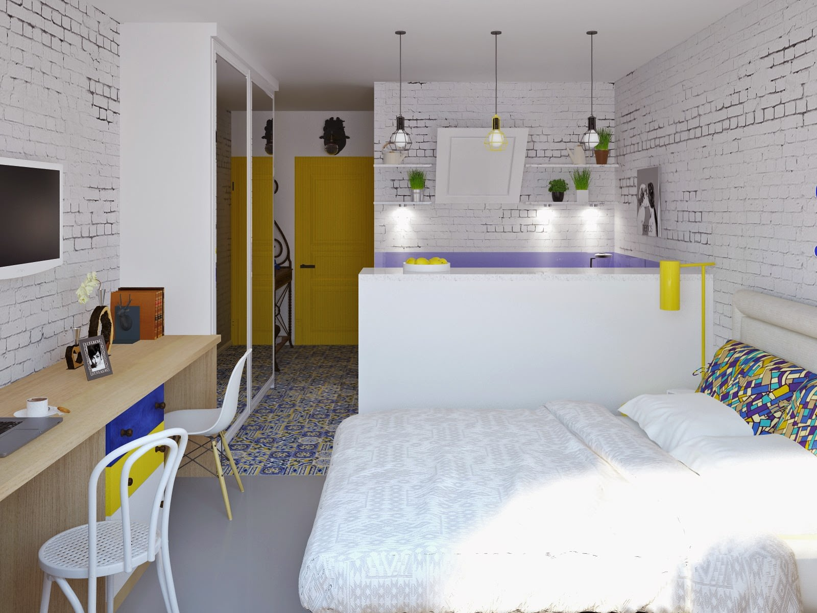 квартира студия площадью 27 кв м спальня