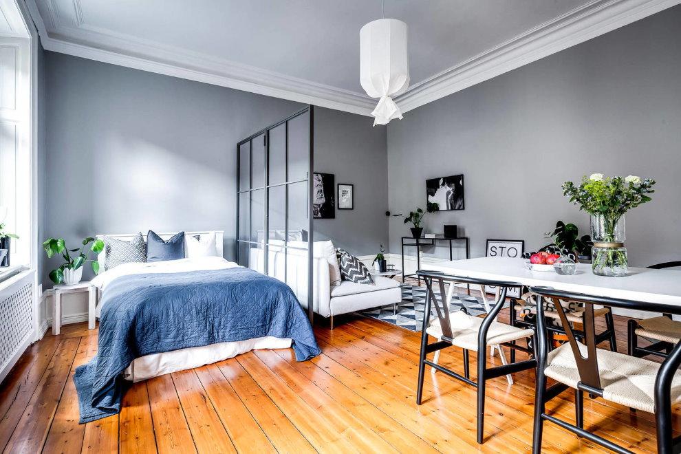 Дощатый пол в квартире скандинавского стиля