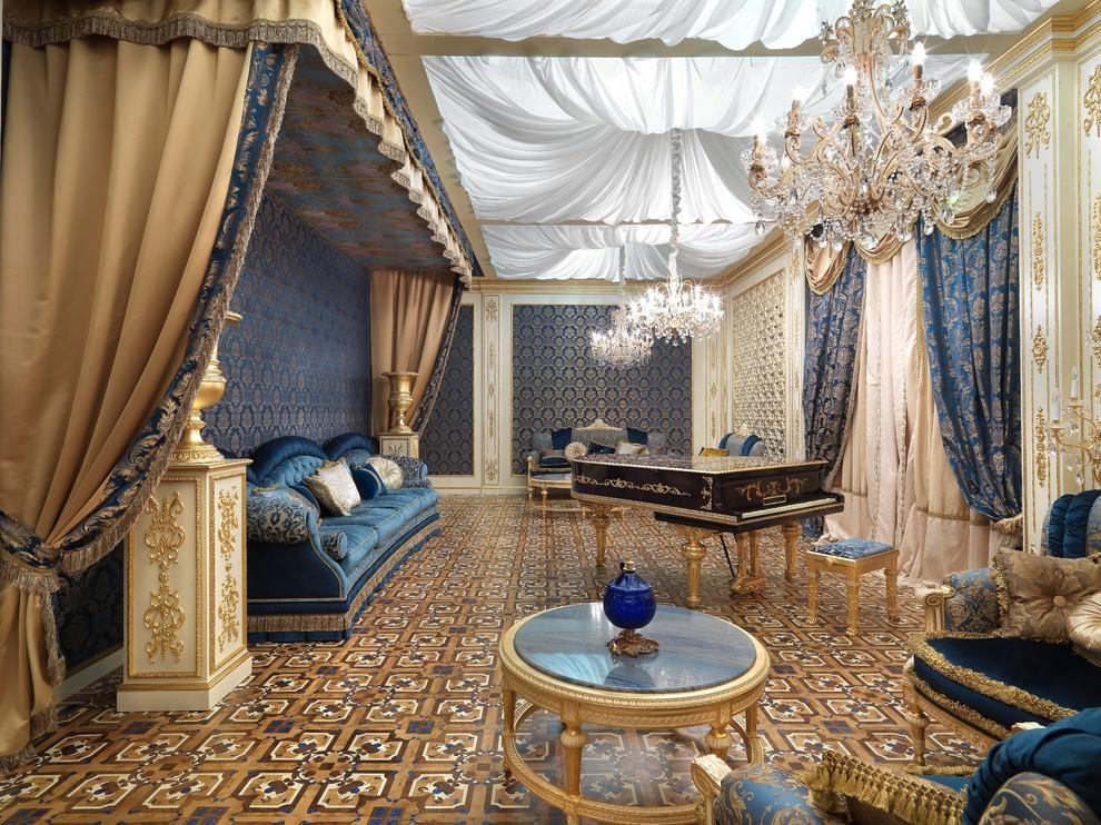 квартира в стиле барокко синего цвета