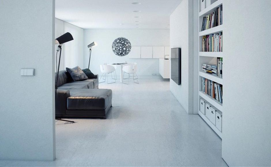 Белый интерьер квартиры в стиле минимализма