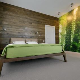 ламинат на стене в спальне идеи фото