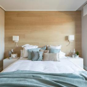 ламинат на стене в спальне фото идеи
