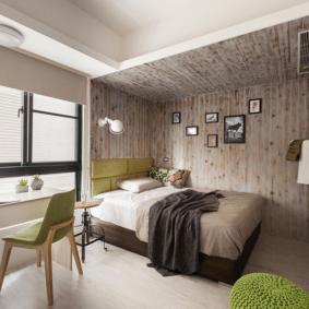 ламинат на стене в спальне фото дизайн