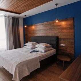 ламинат на стене в спальне дизайн идеи