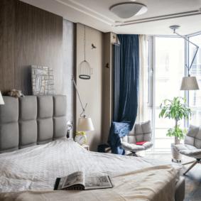 ламинат на стене в спальне фото декора