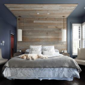 ламинат на стене в спальне виды дизайна