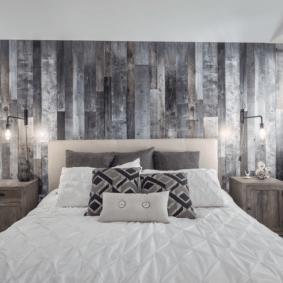 ламинат на стене в спальне оформление фото