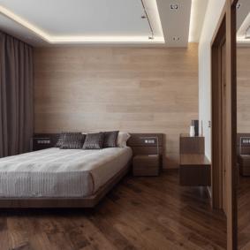 ламинат на стене в спальне фото оформление