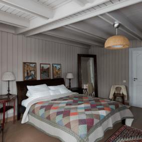 ламинат на стене в спальне варианты