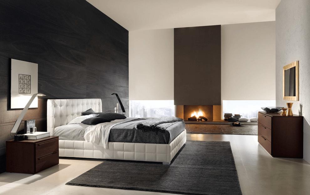 ламинат на стене в спальне черно белый интерьер