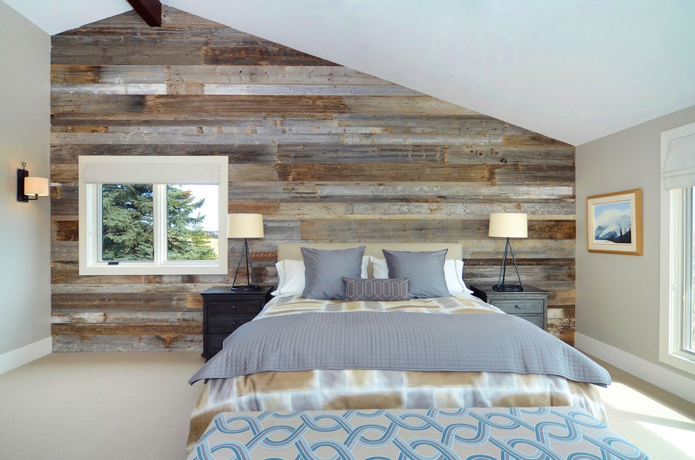 ламинат на стене в спальне декор фото