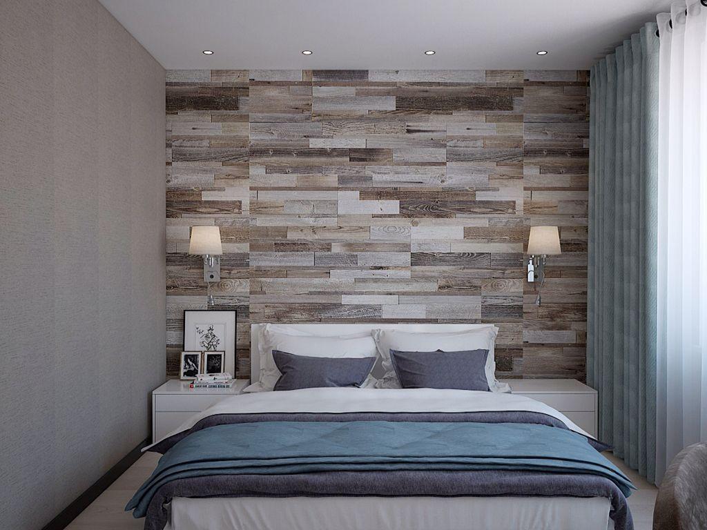 комбинированный ламинат на стене в спальне
