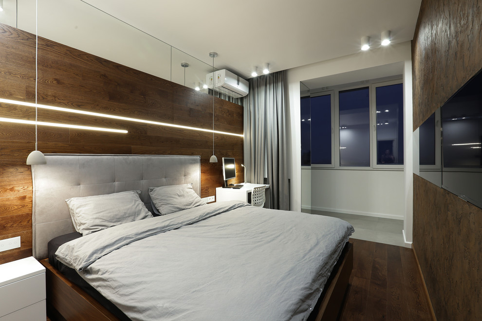 ламинат на стене в спальне с подсветкой